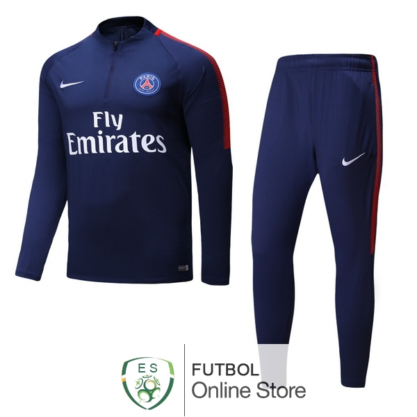 2017/18 Azul Chaqueta Ensemble Complet Paris Saint Germain