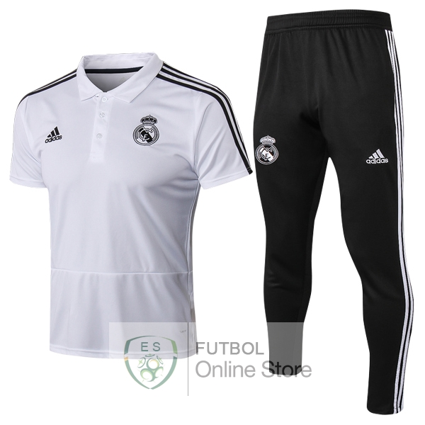 Polo Conjunto Completo Real Madrid Blanco 18/2019