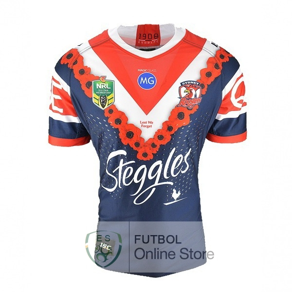 Rugby Camiseta Sydney Roosters 2018 Anzac Azul