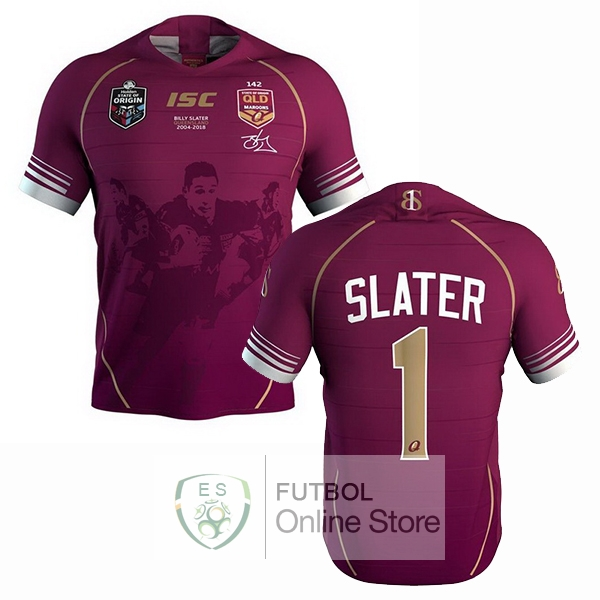 Rugby Camiseta QLD Maroons 2018 NO.2 Slater Rojo