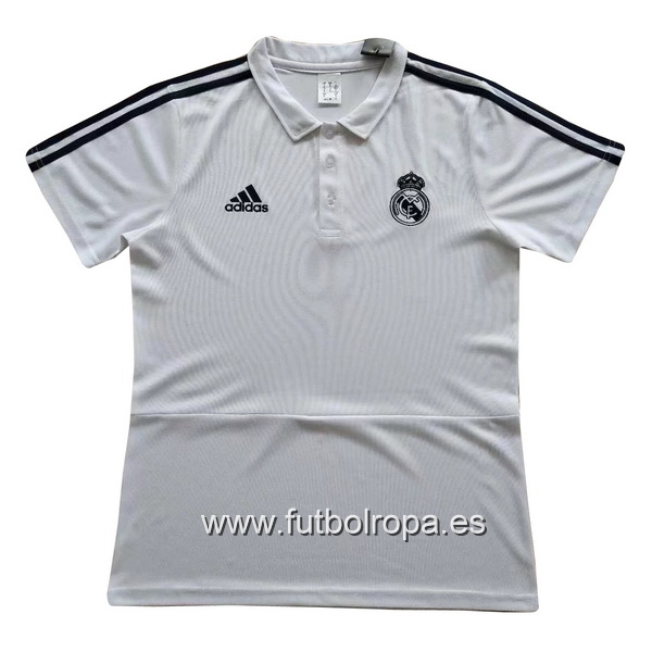 Polo Real Madrid Blanco Negro Blanco 2017/2018