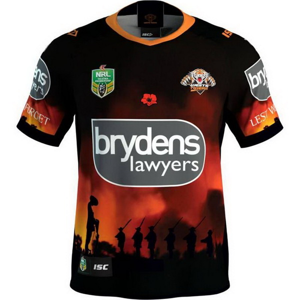ISC Anzac Round Rugby Camiseta Wests Tigers 2018 Negro