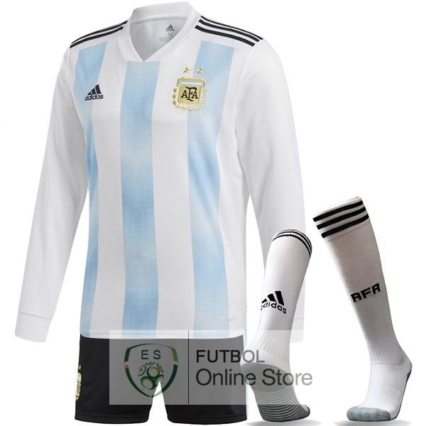 Camiseta Argentina 2018 Manga Larga Primera (Pantalones+Calcetines) 383e9d7e90842