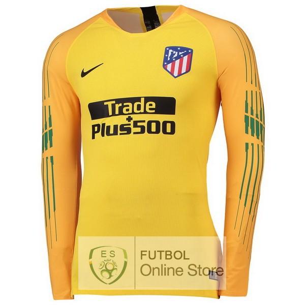 Tailandia Camiseta Atletico Madrid 18 2019 Manga Larga Portero Amarillo a32626793064c