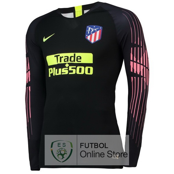 Tailandia Camiseta Atletico Madrid 18 2019 Manga Larga Portero Negro dfc9ca98d9154