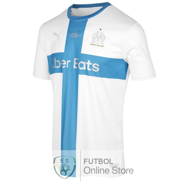 Camiseta Marseille 120th Azul Blanco