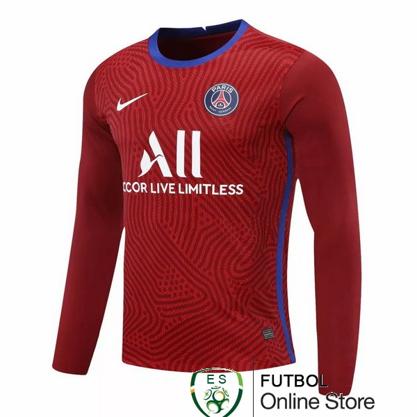 Camiseta Paris Saint Germain 20/2021 Manga Larga Portero Rojo