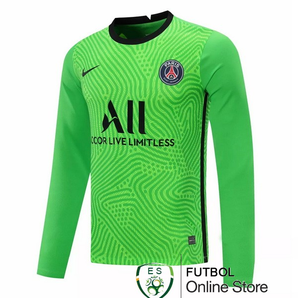 Camiseta Paris Saint Germain 20/2021 Manga Larga Portero Verde
